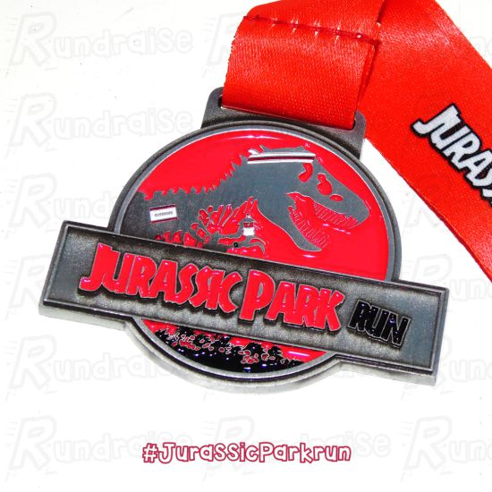 Jurassic Park Run Virtual Race 5k Medal Close Up